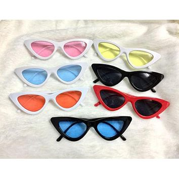 Cat Eye Sunglasses Sexy Women Exaggerated Slim Frame Colorful Tinted Lens 2018