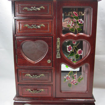 Wood Jewelry Box Stained Glass Jewelry Box with Mirrors Large Wood Jewelry Chest