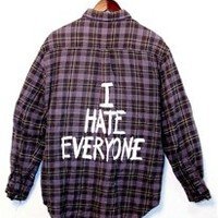 I HATE EVERYONE Vintage Flannel Shirt - MEDIUM - 00731
