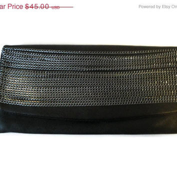 Free Shipping: Black Clutch Purse Evening Bag Large Black Leather Bag