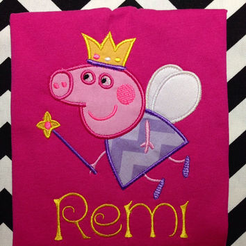 Onesuit-T-Shirt-Short Sleeve-Long Sleeve-Personalized-Peppa Pig Fairy with Name