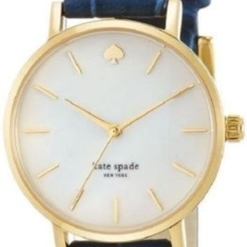 Kate Spade New York Metro Gold Plated Watch with Blue Leather Band 1YRU0537