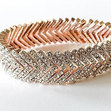 Rose Gold Crystal Diamante Stacked V Cuff Bracelet