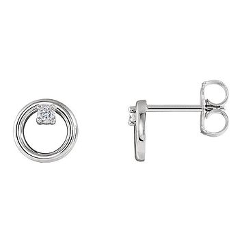 7.25mm 14k White Gold .06 CTW (G-H, I1) Diamond Circle Post Earrings