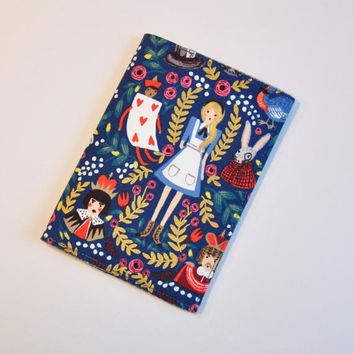 Alice in Wonderland Passport Holder Passport Cover Sleeve Case  Cotton Fabric by Rifle and Company