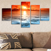 No Frame Wall Paintings Modular Art Picture Sea Sunset Canvas Poster Home Decor Artwork 5Planes Print Painting For Living Room