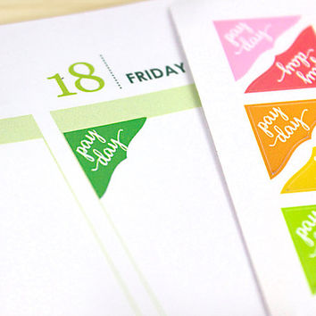 Pay Day Corner Planner Stickers, 70 colorful reminder stickers, fits ECLP Vertical, Happy Planner, Plum Paper, green or assorted colors