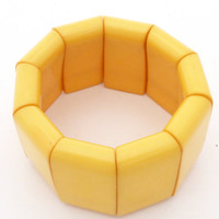 Vintage Chunky Yellow Egg Yolk Color Bakelite Panel Stretch Bracelet Tested