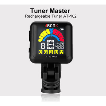 AT-102 digital Rechargeable tuner. For guitar bass ukulele violin. Multi-Color display. Free Shipping