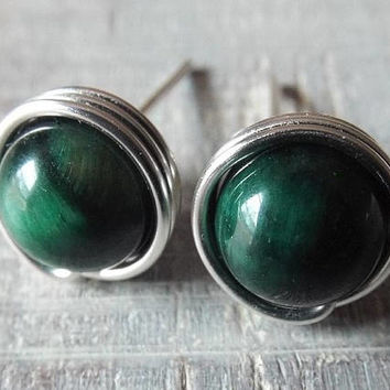 Tiger Eye Stud Earrings, Green Tiger Eye Studs, Green Stone Studs, Green Earrings, Tiger Eye Jewelry, Wire Earrings, Silver Studs, Unique