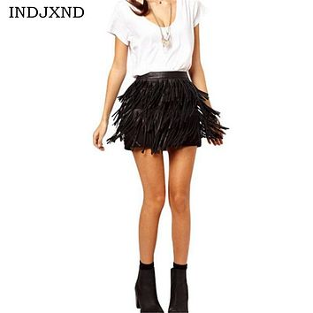 Summer Skirts Women A Line Fringe 2017 skirt Tassel Black PU Leather Woman High Waist american apparel Mini Lady Skirt D013