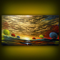 abstract metallic gold landscape painting sunset bird by mattsart
