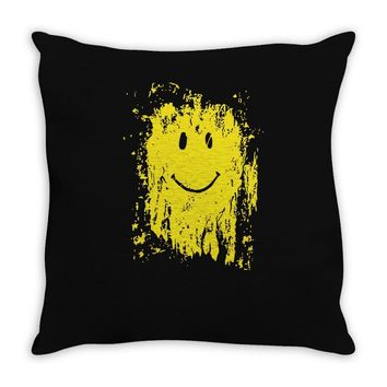 mud smiley face Throw Pillow