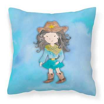 Cowgirl Watercolor Fabric Decorative Pillow BB7367PW1818