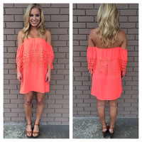 Neon Coral Breanne Eyelet Strapless Dress