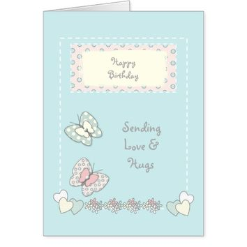 Birthday card shabby chic butterflies