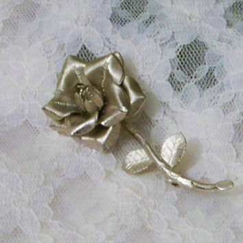Sterling Silver, Rose Brooch, Pin, Hallmarks, Like New, Single Design, 925 Sterling, Estate Jewelry
