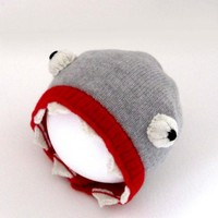 Handmade Knitted Shark Hat by TheMiniatureKnitShop on Etsy