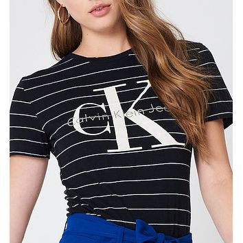 """Calvin Klein"" Women's Cotton Stripe Tee Shirt"