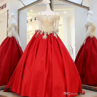 High Quality Gold And Red Prom Dresses 2017 Off Shoulder Lace Applique Beaded Satin Ball Gown Formal Party Dresses