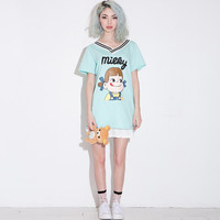 Mint V-neck Milky Girl Print Baseball Shirt with Back Print