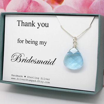 Thank you for being my for bridesmaid gift sterling silver Swarovski teardrop crystal, bridal party gifts in a box, something blue