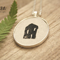 House Necklace * Gift * Minimalist * Home * Black House * Long Necklace * Holiday Jewelry * Housewarming * Home is wherever I am with you
