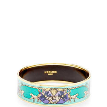 Hermes Green And Gold Wild Cats Motif Wide Enamel Bangle by What Goes Around Comes Around - Moda Operandi