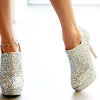 Genuine Leather With Silver Glitter Embellishment Ankle Booties Boots Available Size from US6 to US9