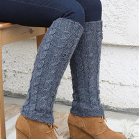Alpaca Leg Warmers - Wide Cable
