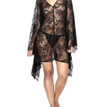"""Ibiza"" Black Lace Kaftan Cover Up"
