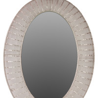 Valuable & Stunning Oval Shaped Metal Mirror in Silver