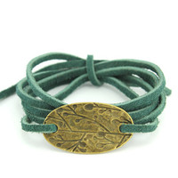 Wrap Bracelet : Twilight Forest. Tie On Bohemian Hunter Green Leather Cord Wrap Bracelet with Antique Brass Oval Charm