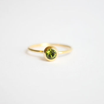 Peridot Green Swarovski Crystal 18k gold ring, simple, tiny, gem, birthstone of August, birthday gift, friendship
