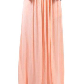 Chic Pink Elastic Waist Pleated Gauze Maxi Skirt with Lining