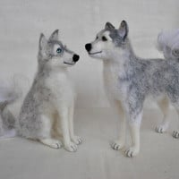 Custom order - 2 gray dogs hasky, needle felted toys