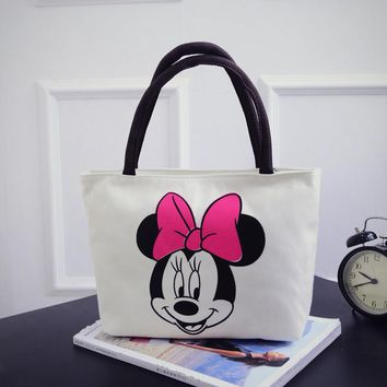 New Women Cartoon Mickey Handbag Fashion Girls Casual Canvas Shoulder Bag Tote Big Capacity Hello Kitty Shopping Bag Satchel Bag