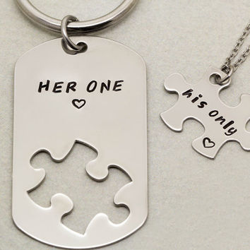 Her One His Only Keychain and Necklace | Couples Gift | Girlfriend Boyfriend Gift | Hand Stamped His and Her Necklace | Anniversary Gift