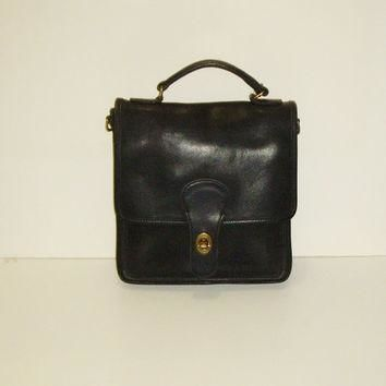 COACH Station Bag, Vintage Black Leather Purse, No Shoulder Strap, Made in United Stat