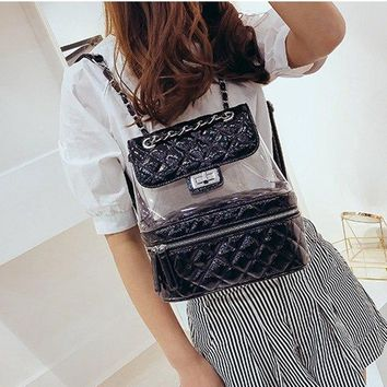 Clear Backpacks popular 2018 Famous Brand Design Summer Candy Color PVC Transparent Casual Backpacks Diamond Lattice Women Clear Daily Girls School Bag AT_62_4
