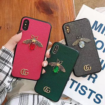 GUCCI Tide brand gem bee iPhone7plus luxury mobile phone case cover