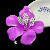 New Poppy Brooches Multicolor Pins Brooches Crystal Rhinestone Red Flowers Brooch For Women Wedding Dress Low Price