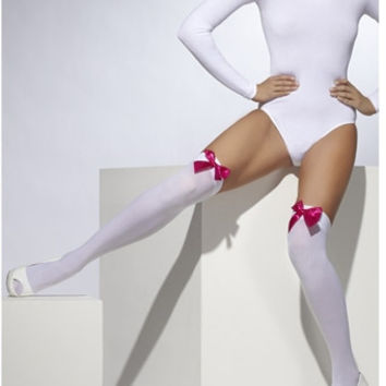 Thigh High Stockings with Fuschia Bow
