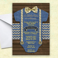 Onesuit Invitation - Burlap Baby Shower - Little Man Baby Shower Invitation - Boy Babyshower - Blue - Navy - Gold - Bowtie