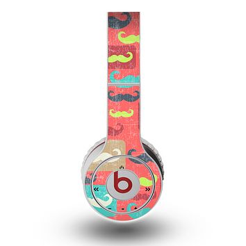 The Vintage Coral and Neon Mustaches Skin for the Original Beats by Dre Wireless Headphones