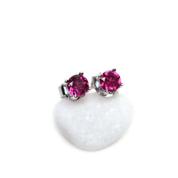 Rhodolite Garnet Earrings Dainty Sterling Silver Jan