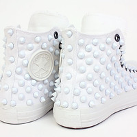 Holiday Promotion, Studded Converse, white studs with all white converse chuck by CUSTOMDUO