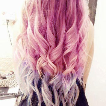 Ombre Hair, Tie dye Hair, Dipped Human Hair Extensions, Ash Blonde Ext