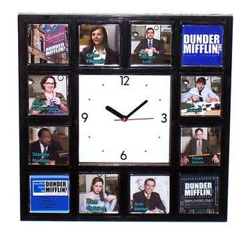 The Office TV Show Dunder Mifflin sales staff promo Clock with 12 pictures