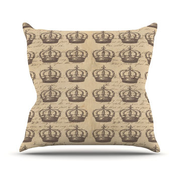 """Suzanne Carter """"Crowns"""" Brown Tan Throw Pillow"""